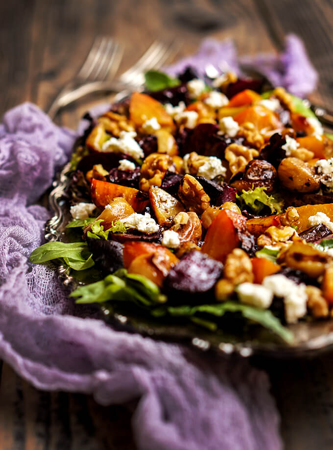 beets salad with caramelized garlic, toasted walnuts and goat cheese ...