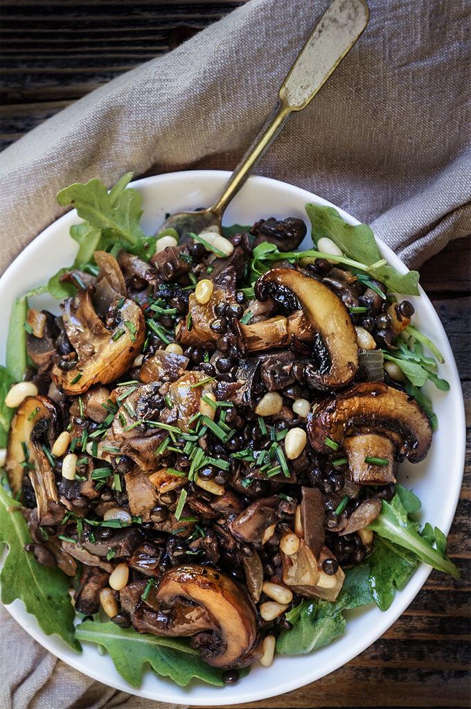 Mushroom lentils salad